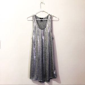 Silver, metallic tank dress
